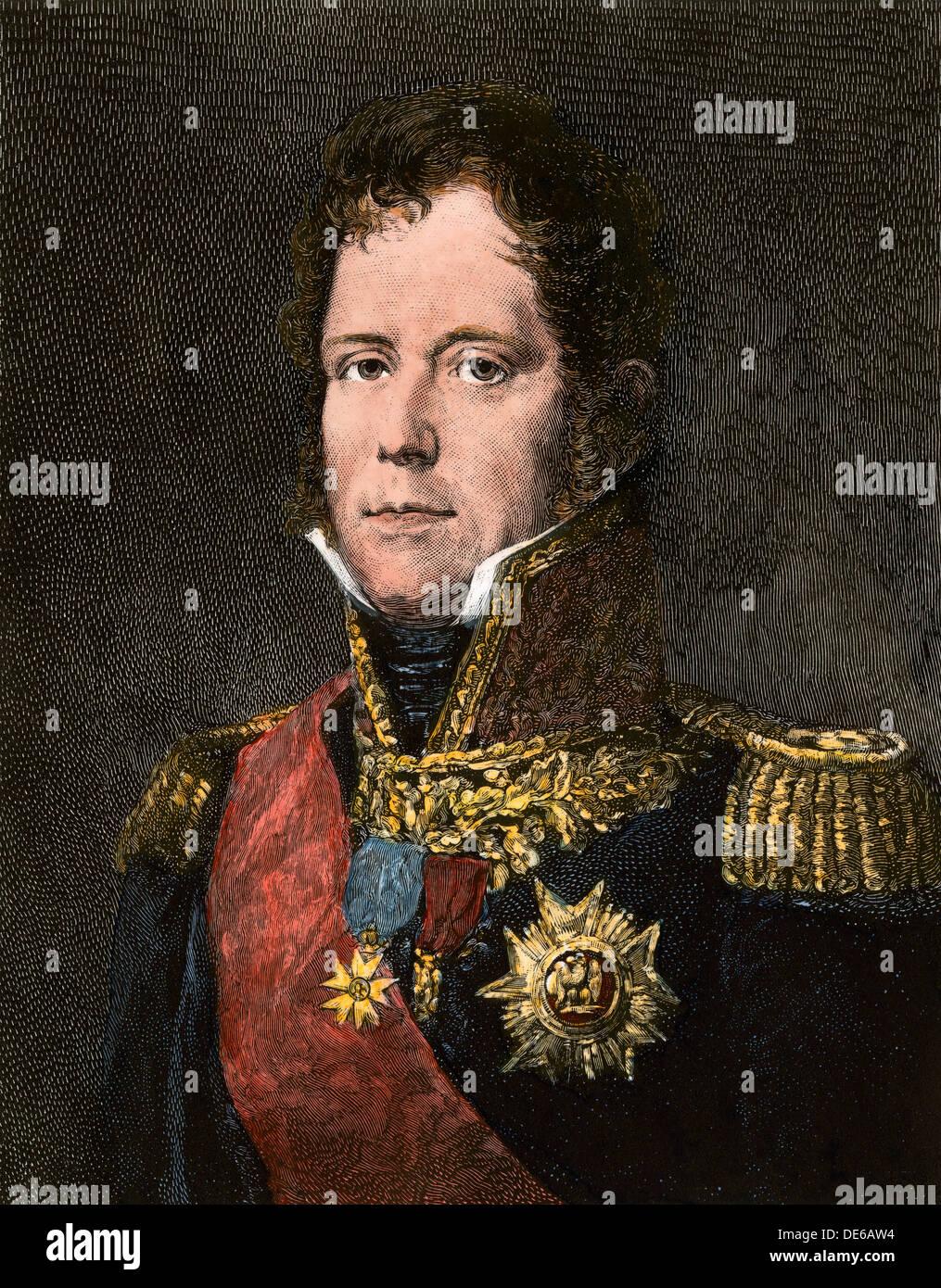 El Mariscal Michel Ney, comandante de la vieja guardia de Napoleón en Waterloo. Xilografía coloreada a mano Imagen De Stock