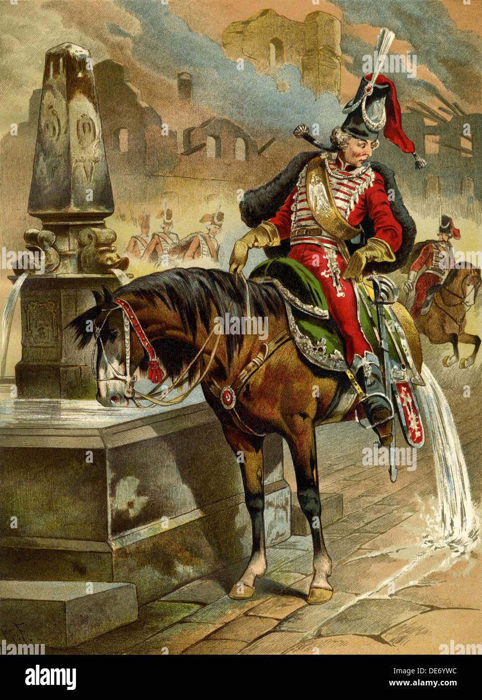 Ilustración para el libro las sorprendentes aventuras del barón Münchhausen Por Rudolph Erich Raspe, 1896. Artista: Franz, GOTTFRIED (1846-1905) Foto de stock