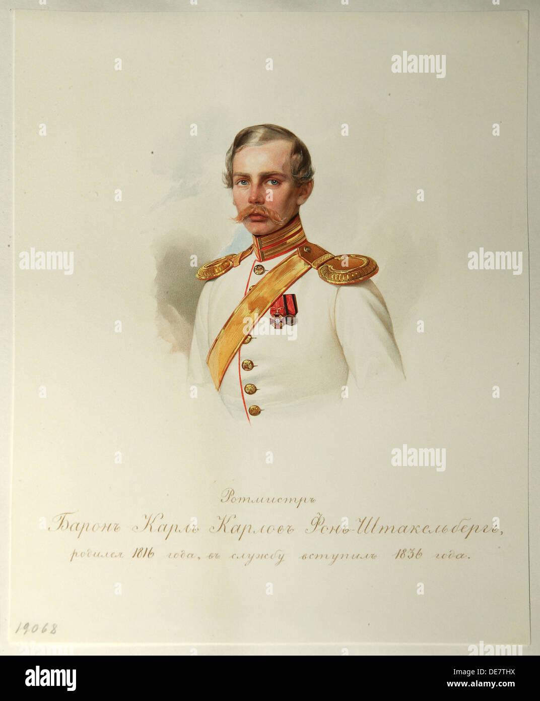 Retrato de Karl Karlovich Baron von Stackelberg (1816-1887) (desde el álbum del caballo Imperial guardias), 1846-1849. Artista: Hau (Gau), Vladimir Iva Foto de stock