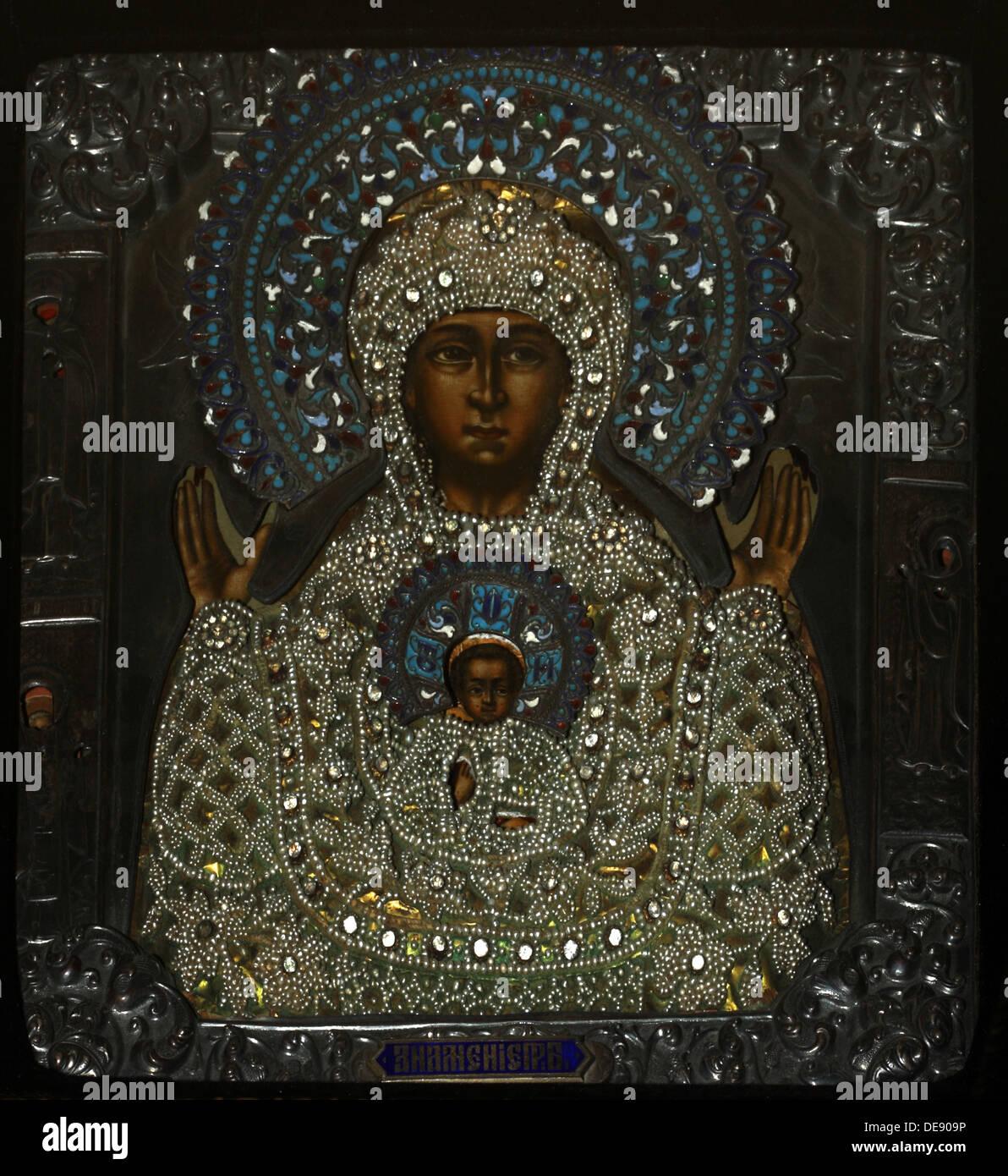 Nuestra Señora del signo, principios del XVIII cen.. Artista: icono Ruso Imagen De Stock