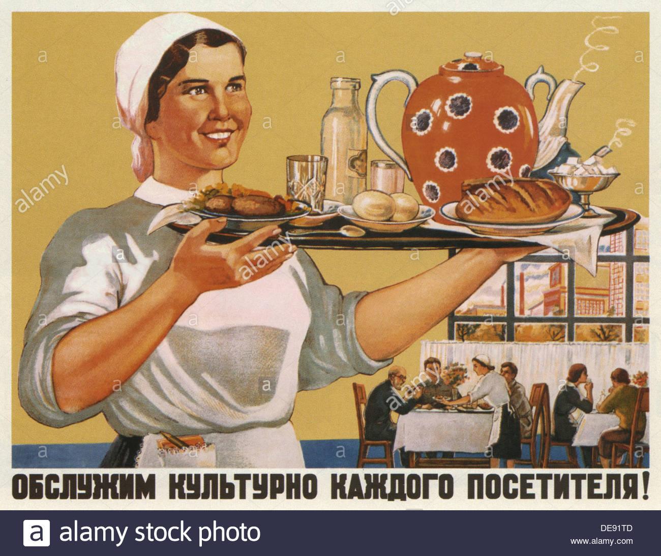 Serviremos a cada visitante educadamente!, 1948. Artista: Shubina, Galina Konstantinovna (1902-1980) Imagen De Stock