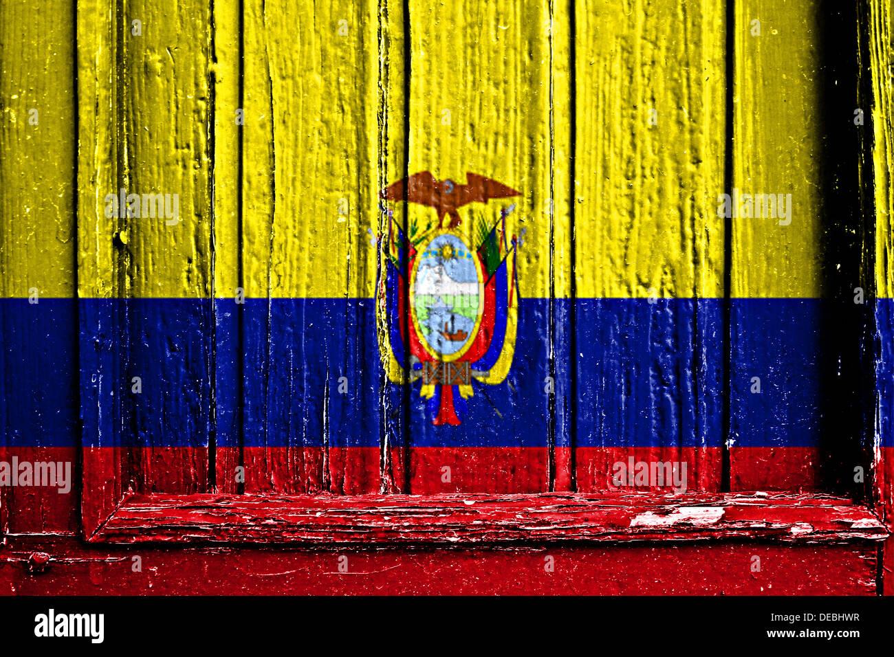 Bandera de Ecuador pintado sobre un marco de madera Foto & Imagen De ...