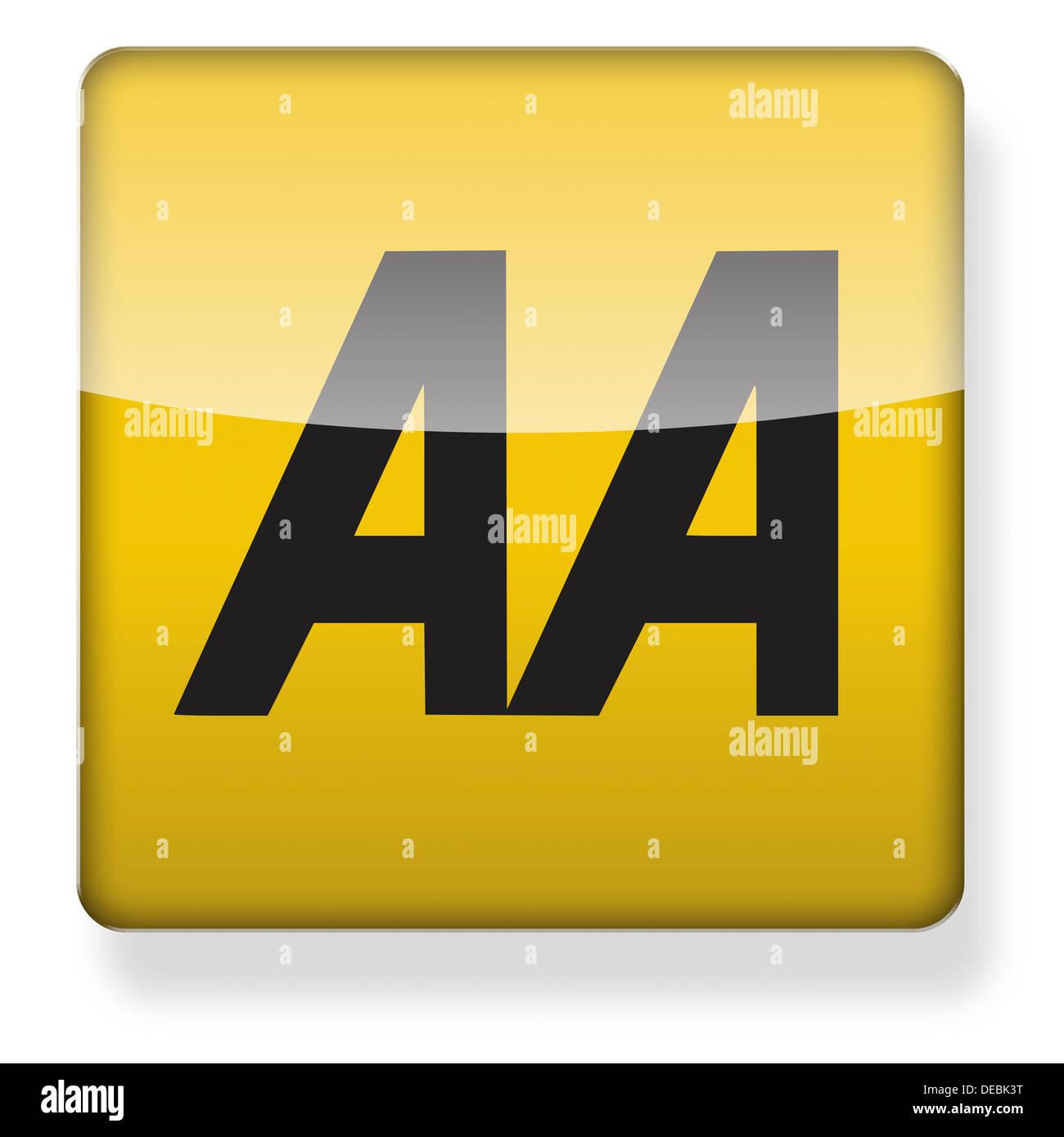 AA Automobile Association logo como el icono de una aplicación. Trazado de recorte incluido. Imagen De Stock