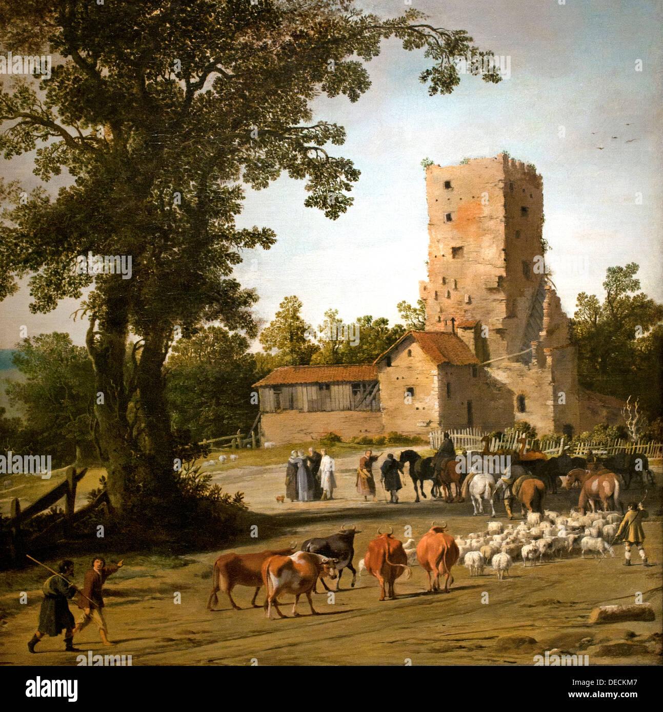 Adiós a Abraham y lea y Lot y su esposa 1630 Pieter Jansz Post 1608 - 1669 Holanda Holandesa Imagen De Stock
