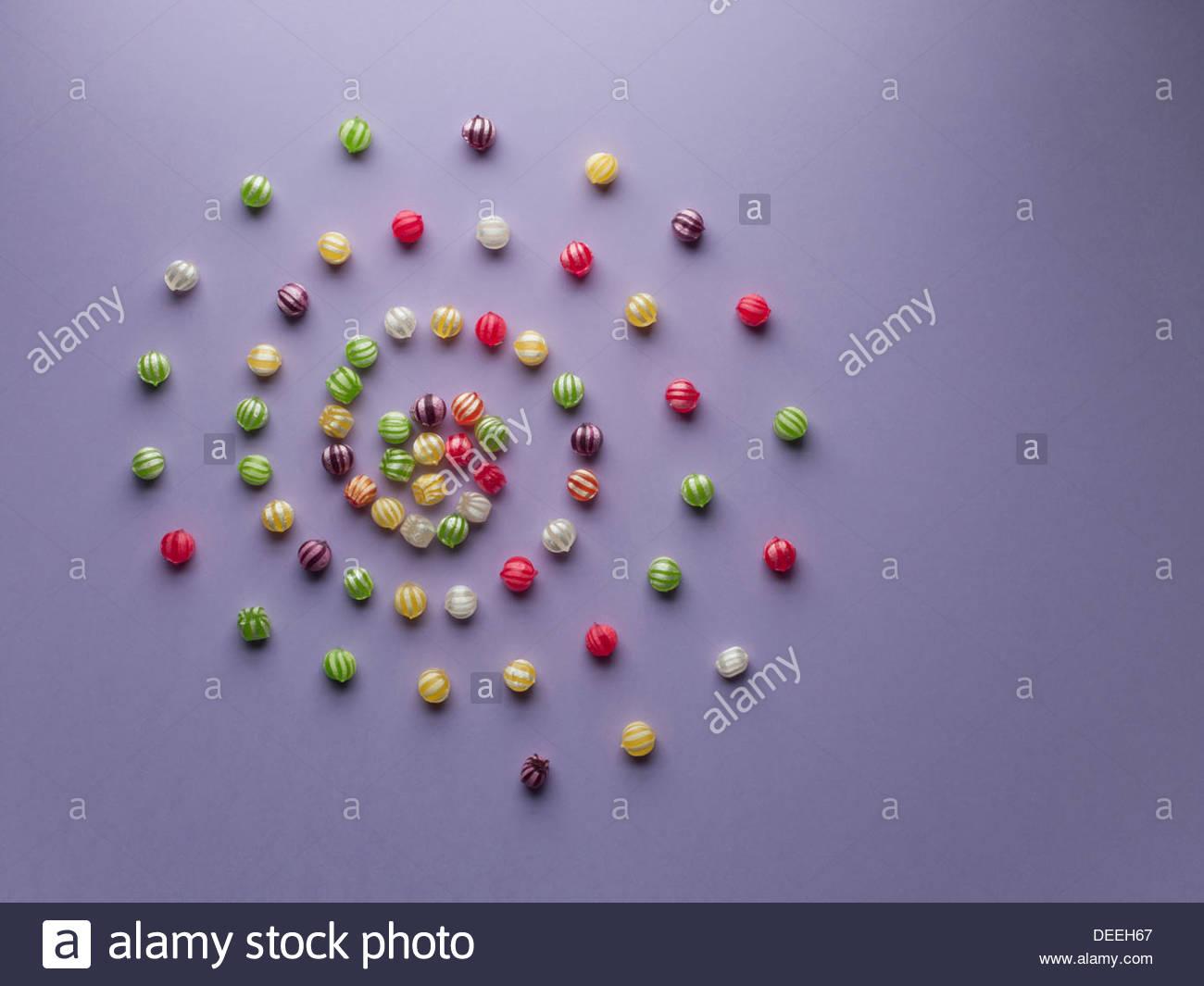 Espiral de vibrante caramelos Imagen De Stock
