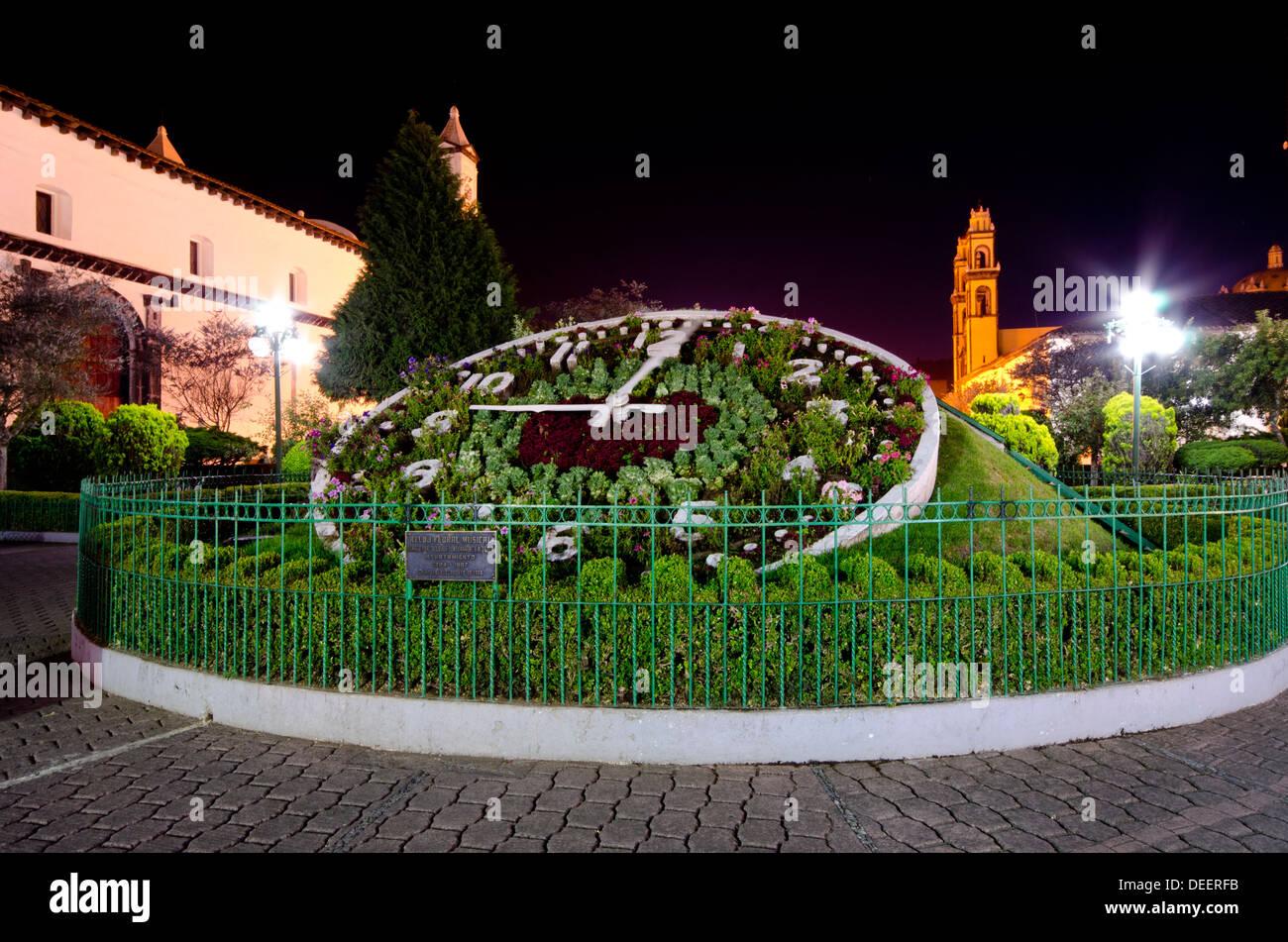 ddbb04c970ce Vista nocturna del reloj de flores en la plaza principal de Zacatlan en el estado  de Puebla