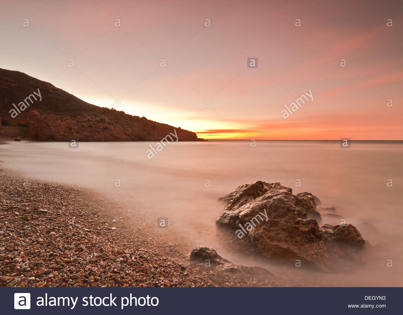 El paisaje, el Amanecer en el Portus, Cartagena, Murcia, España Imagen De Stock