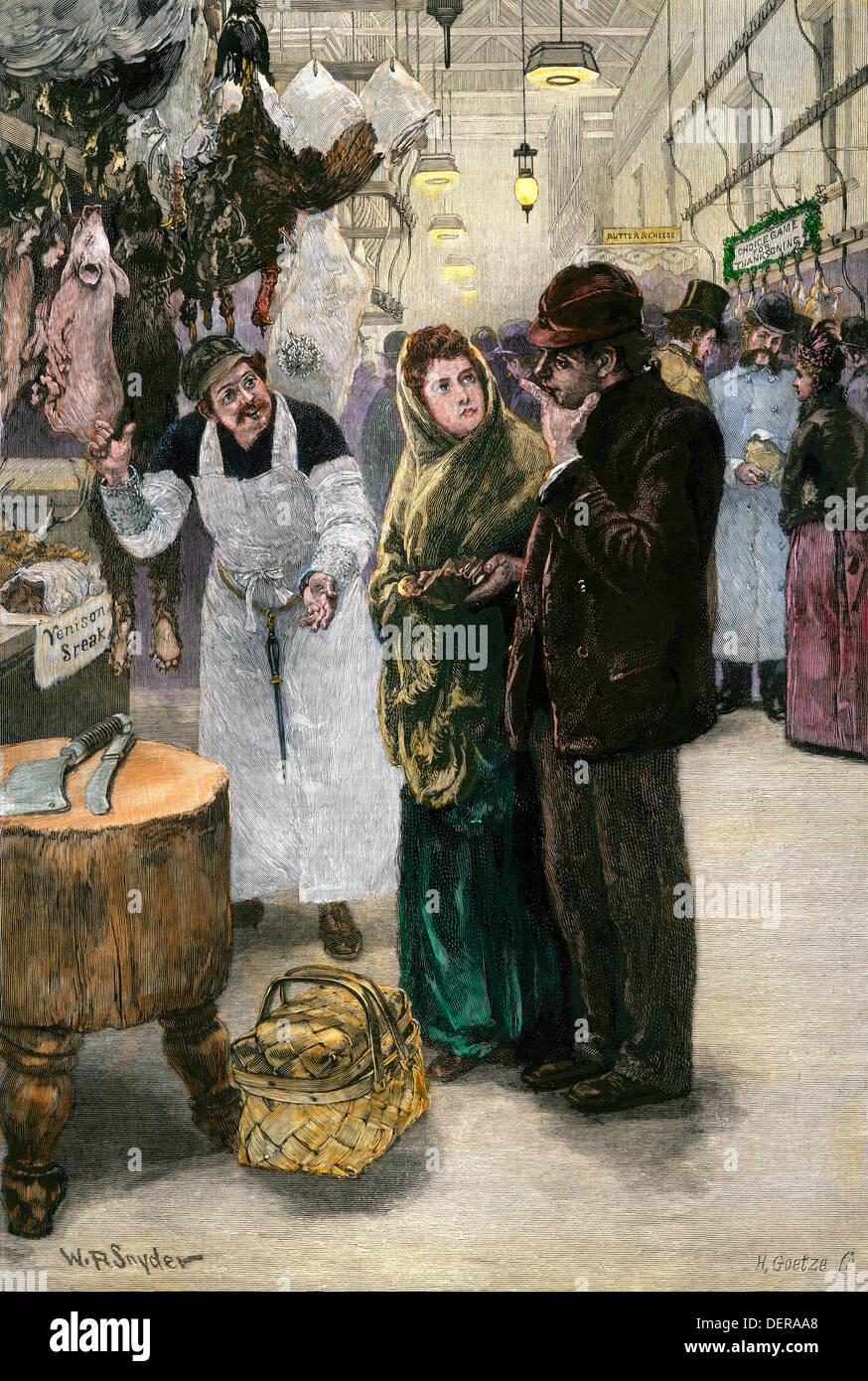 La selección de la pareja, la cena de Acción de Gracias de 1880. Xilografía coloreada a mano Imagen De Stock