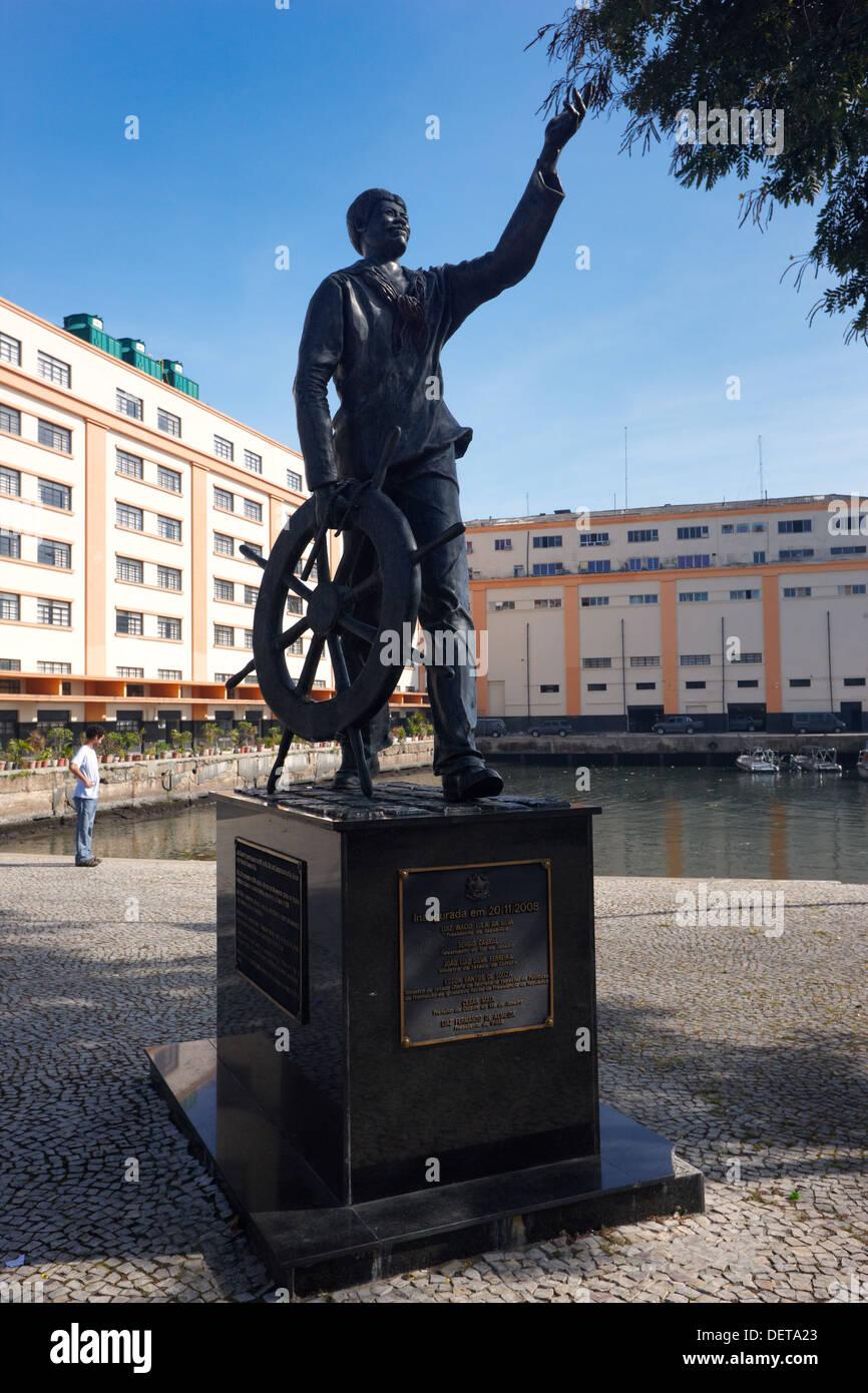 Joao Candido Feliz Berto estatua, Praca XV, Río de Janeiro, Brasil, América del Sur Imagen De Stock