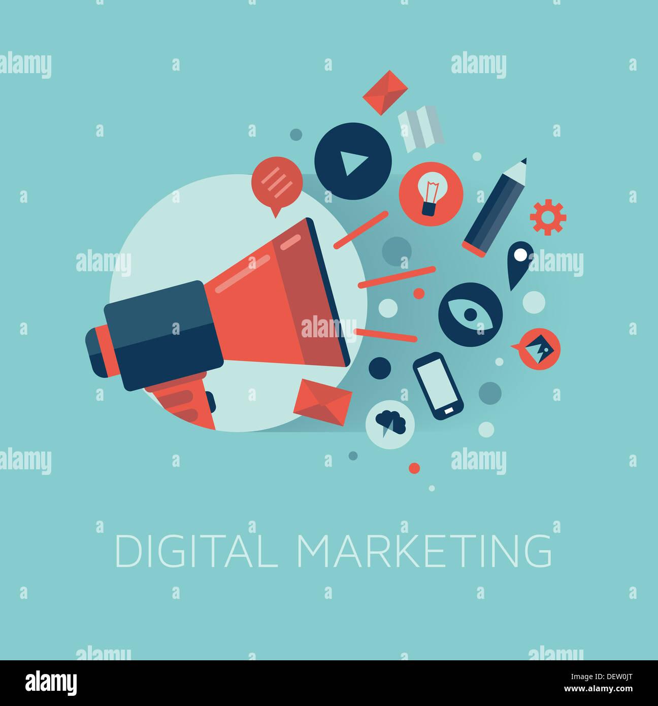 Elegante ilustración de megáfono con nube de coloridos iconos de aplicación sobre el tema de los medios. Concepto de marketing digital. Imagen De Stock