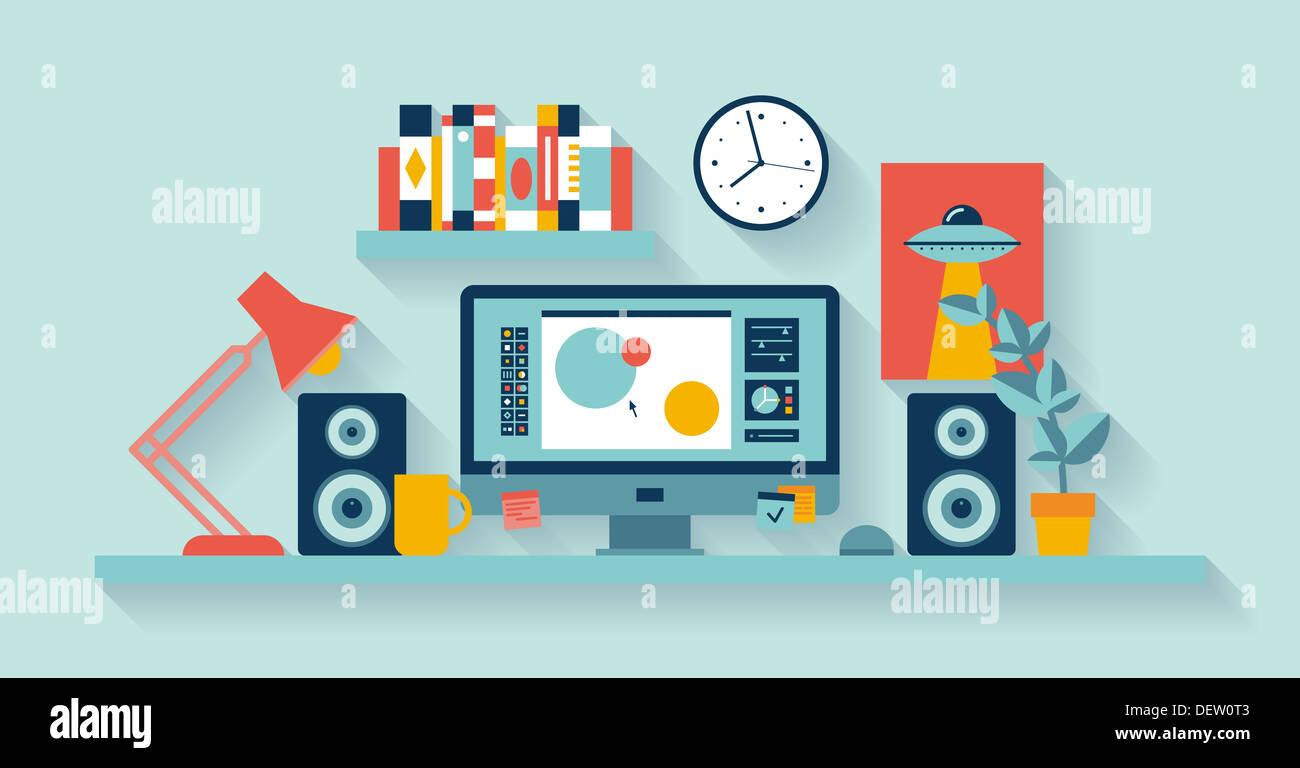Ilustración del diseñador de interiores moderno de oficina con escritorio aplicaciones de diseño Imagen De Stock