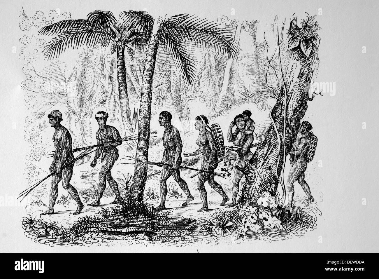 Los miembros de la tribu Puri, Centro de Brasil, c.1840. Están extintas.  Grabado.