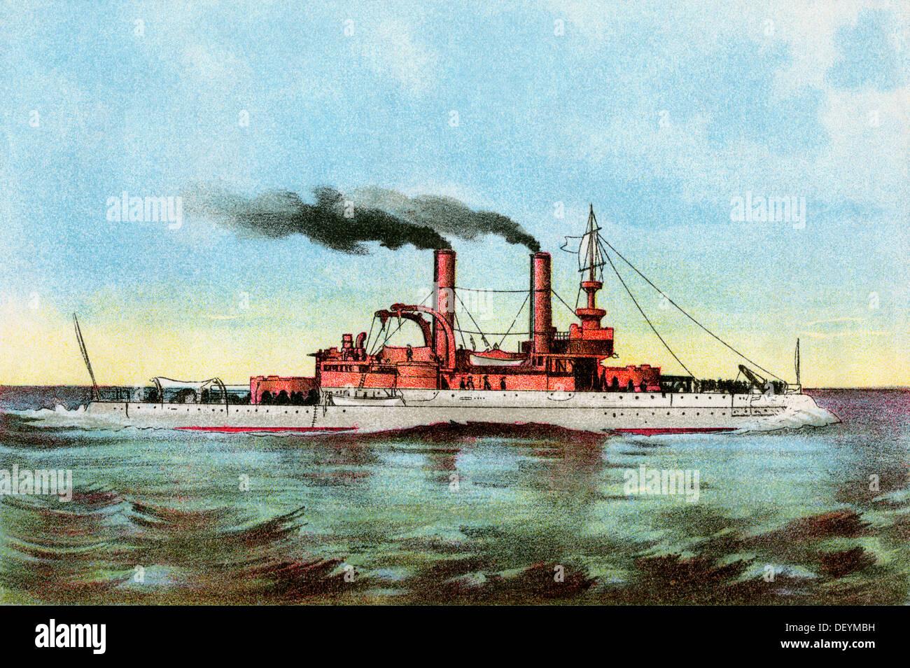 El acorazado estadounidense 'Iowa' circa 1900. Litografía de color Imagen De Stock