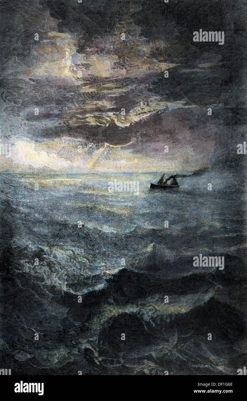 Vapor de pasajeros en el mar, a fines del 1800. Xilografía coloreada a mano Imagen De Stock