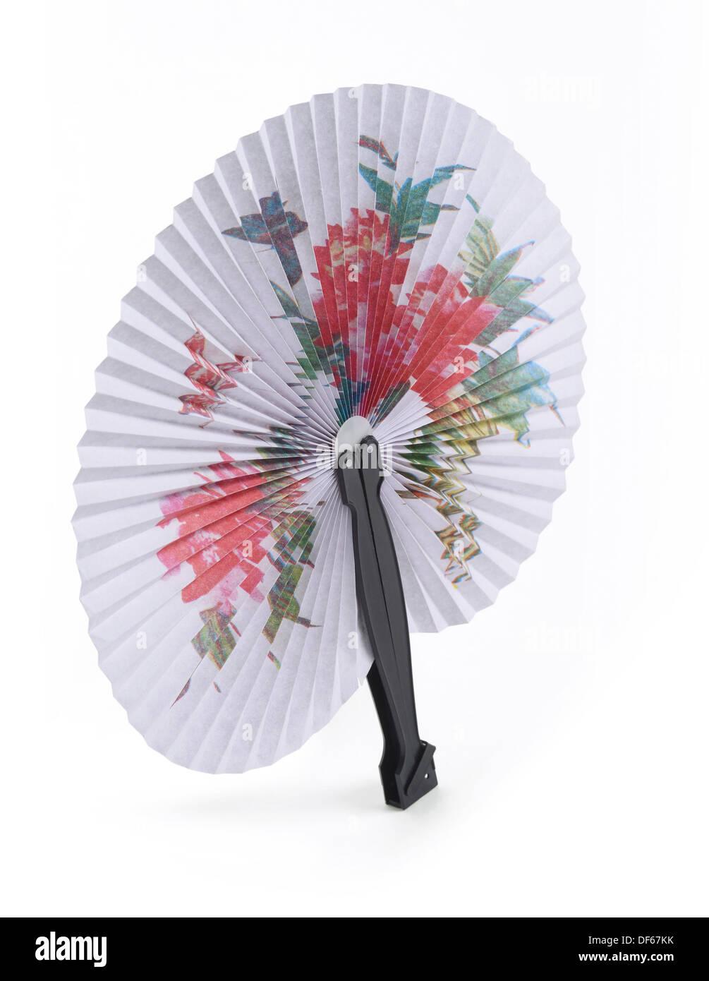 El papel y el plástico del ventilador de mano Imagen De Stock