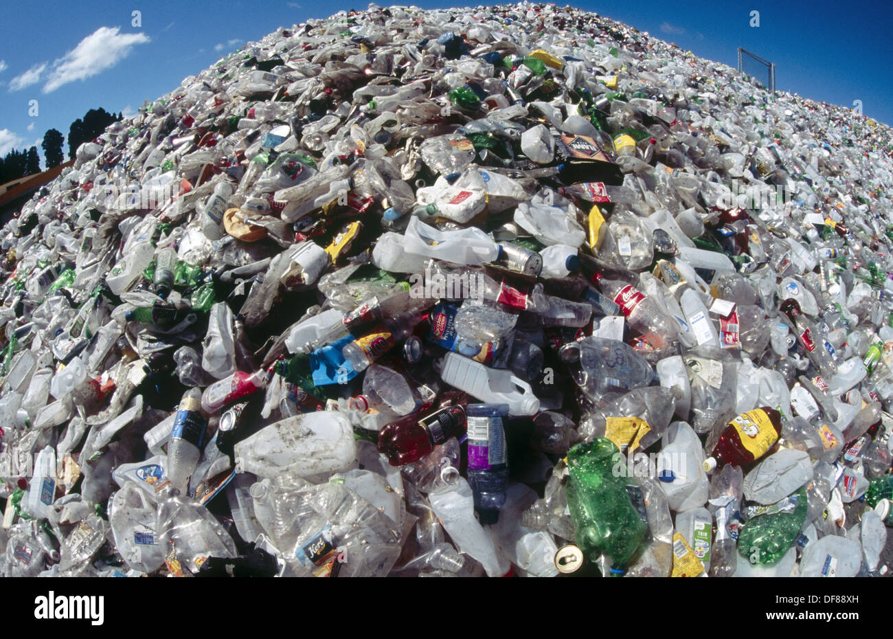 Montaña de plástico. Las botellas de plástico recolectadas para ...