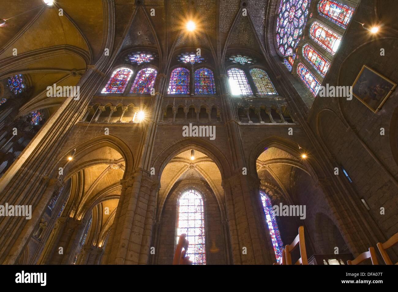 Francia,Chartres : cathédrâle, intérieur Foto de stock