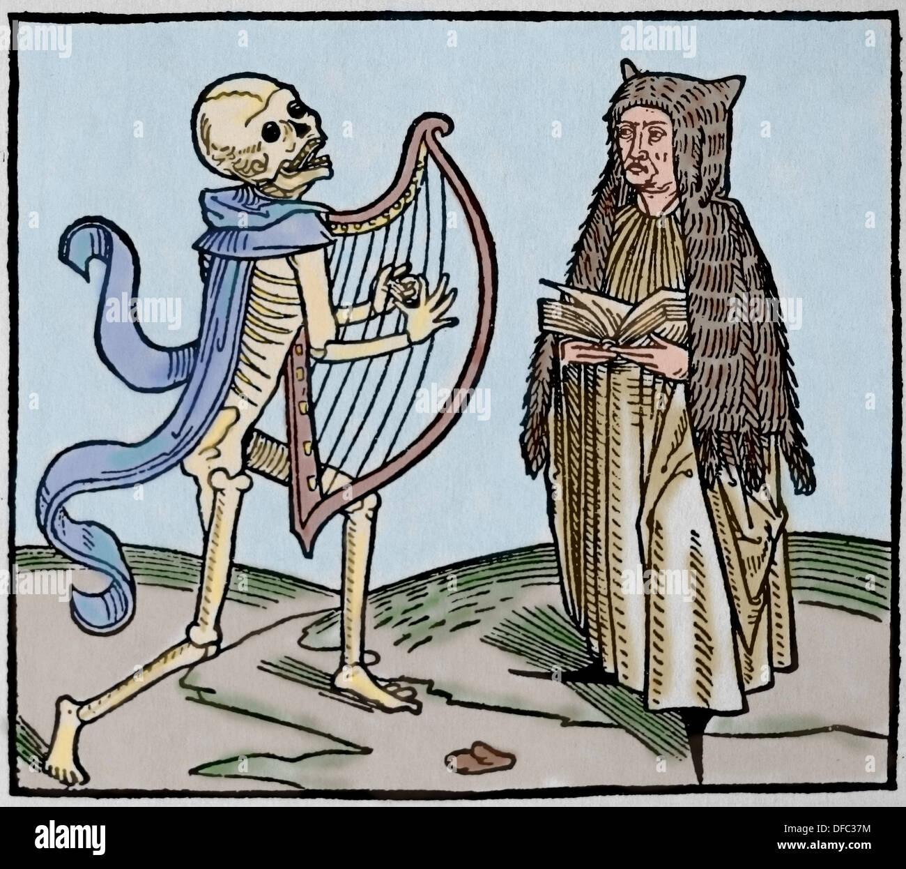Período Medieval. Europa.14to siglo. La danza de la muerte. Alegoría de la universalidad de la muerte. Grabado en color. Imagen De Stock