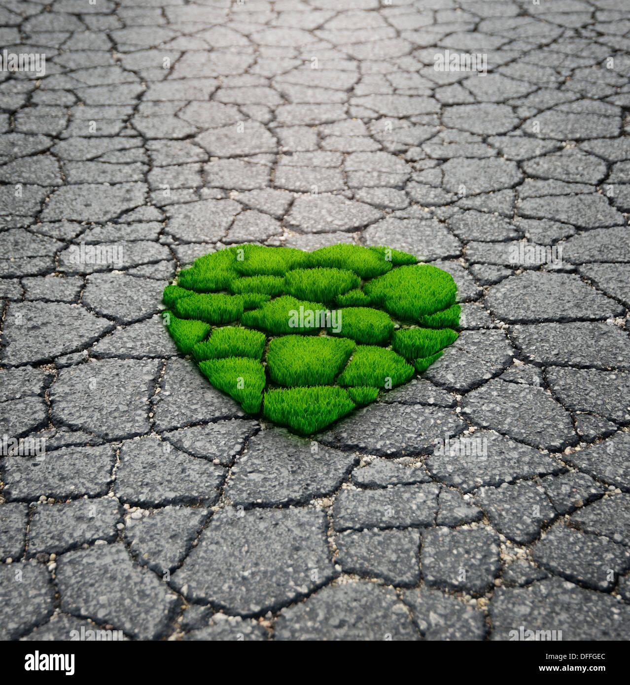 Heart Shape césped que crece desde el asfalto Imagen De Stock