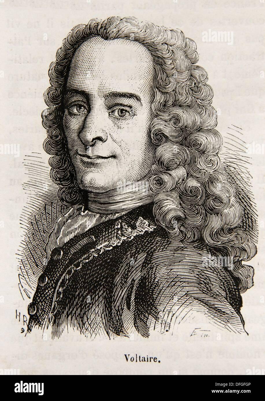 François-Marie Arouet el 21 de noviembre de 1694 - 30 de mayo de 1778, mejor conocido por el seudónimo de Voltaire, fue un escritor de la ilustración francesa Foto de stock