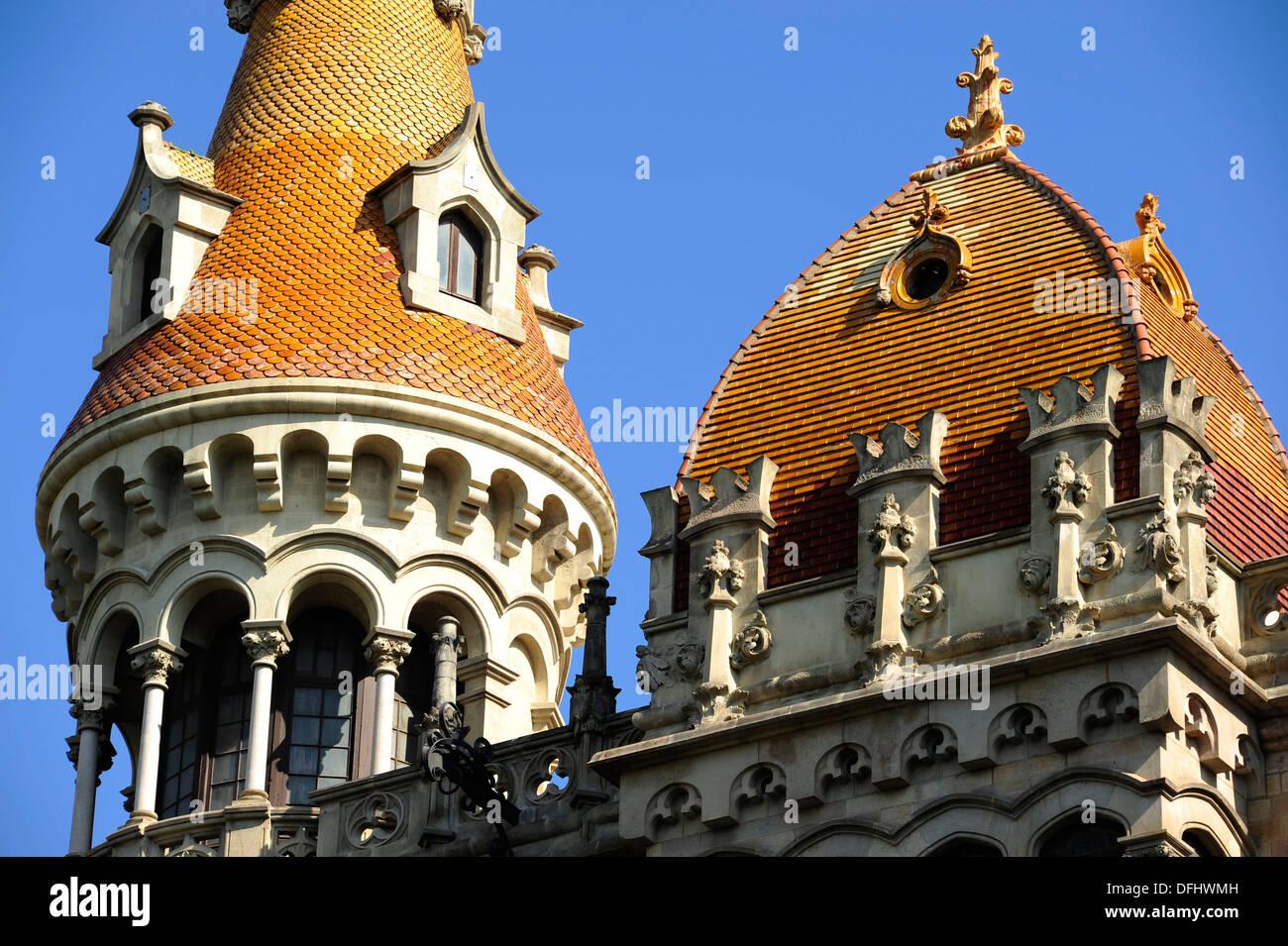 Casos Rocamora, Bonaventura Bassegoda i Amigó / Joaquim Bassegoda i Amigó, estilo historicista, Barcelona, Cataluña, España Imagen De Stock