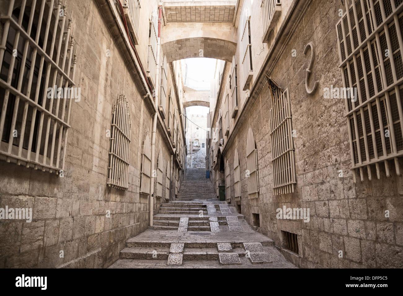 Calle en la ciudad vieja de Jerusalén en Israel Imagen De Stock