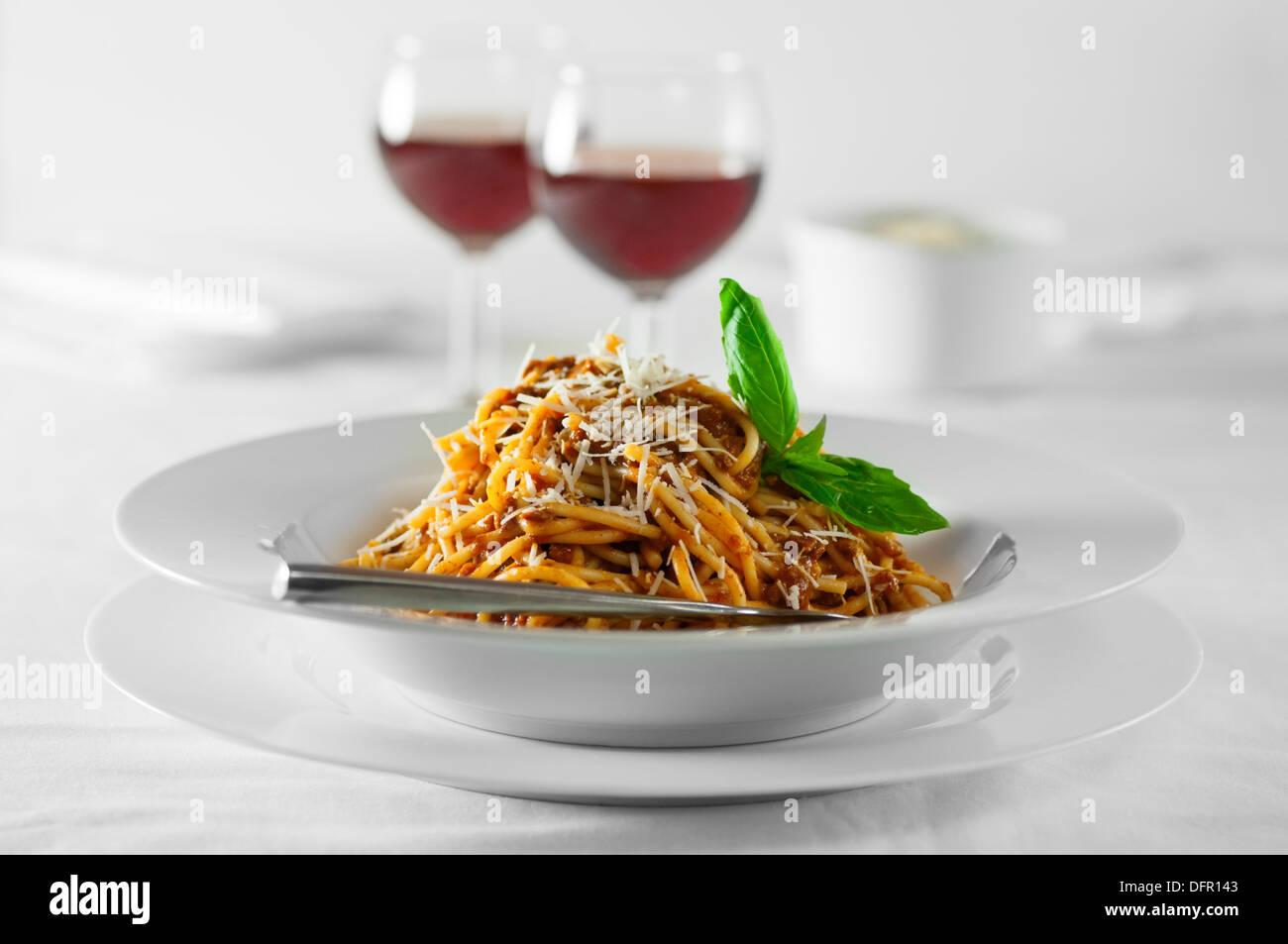 Los espaguetis a la boloñesa comida italiana Imagen De Stock