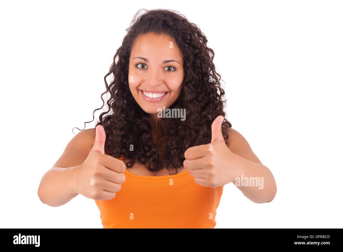 Retrato de mujer joven mostrando Pulgar arriba signo aislado Imagen De Stock