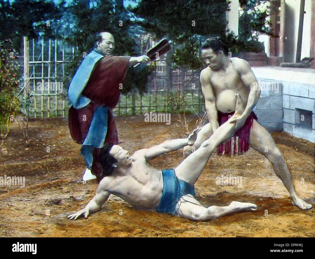 Japón - Wrestling 1900 Imagen De Stock