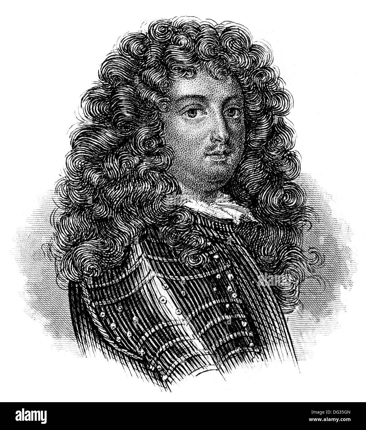 Retrato de Louis XIV, Louis le Grand, 1638 - 1715, el rey de Francia y Navarra, llamado el Rey Sol o le Roi-Soleil, Foto de stock