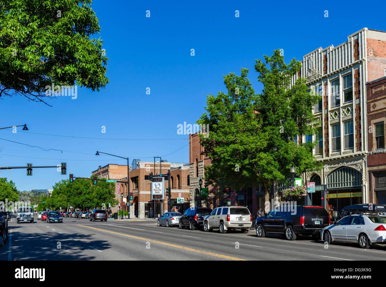 Main Street en el centro de la ciudad de Bozeman, Montana, EE.UU. Imagen De Stock