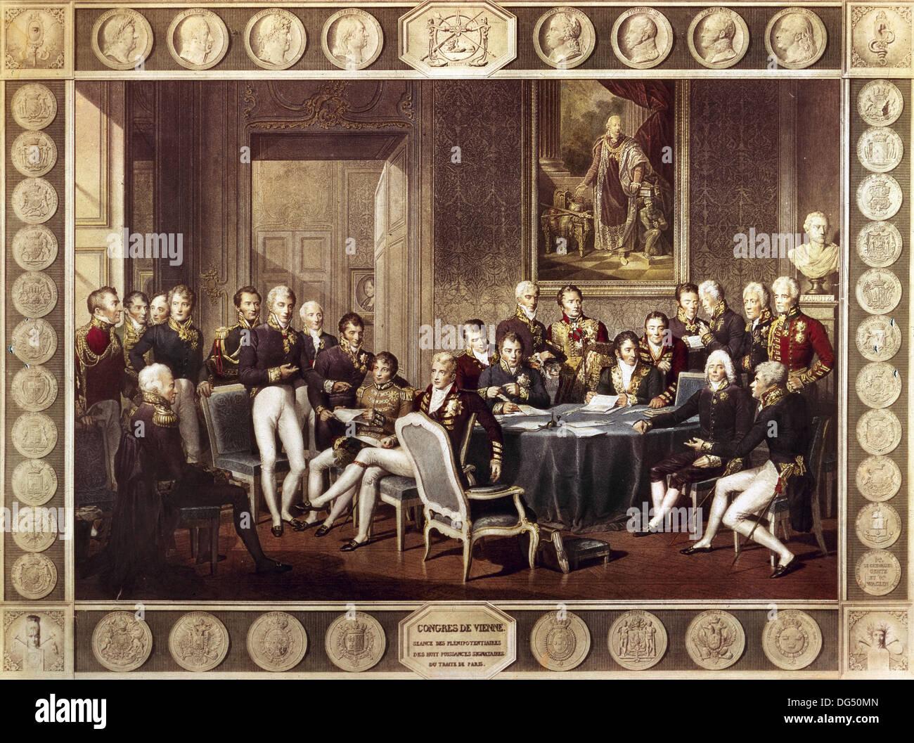 El Congreso de Viena, presidida por el estadista austriaco Metternich. Grabado en color. Foto de stock
