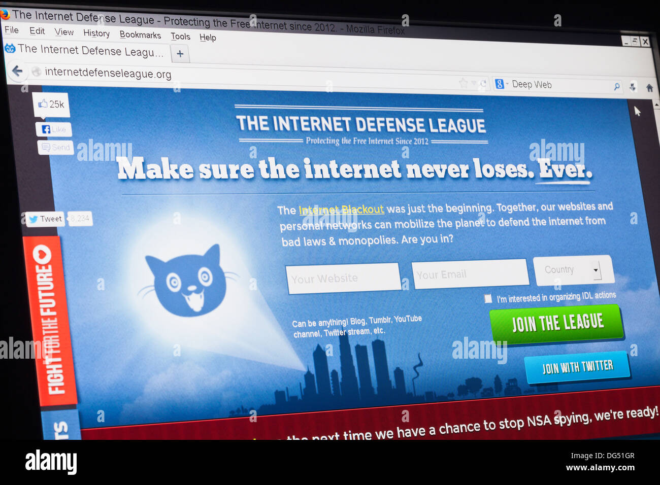 Captura de pantalla de la liga de defensa de internet homepage Imagen De Stock