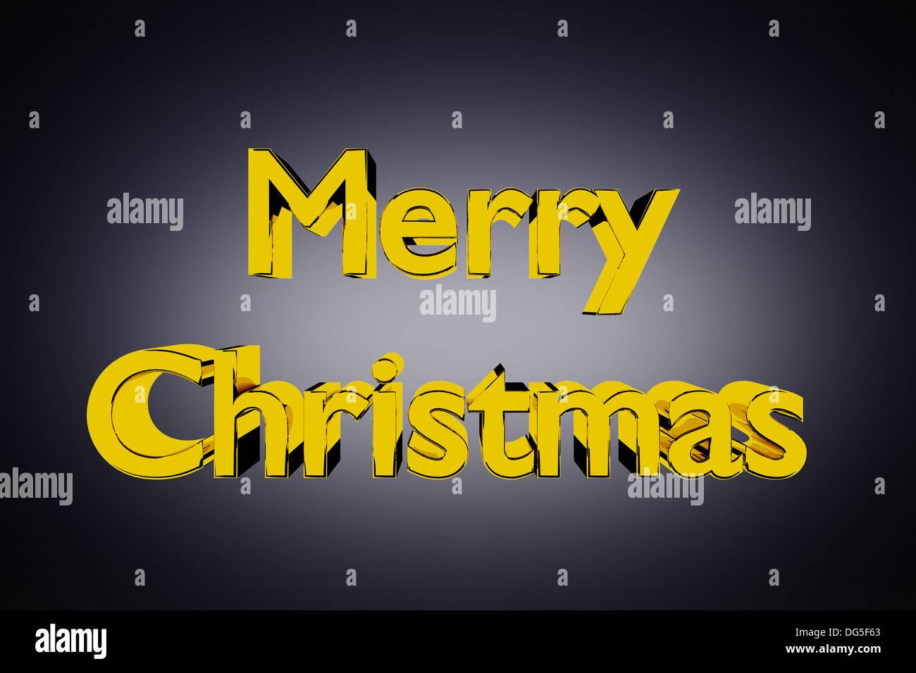 Ilustración 3D de golden Feliz Navidad letras sobre un fondo gris Imagen De Stock