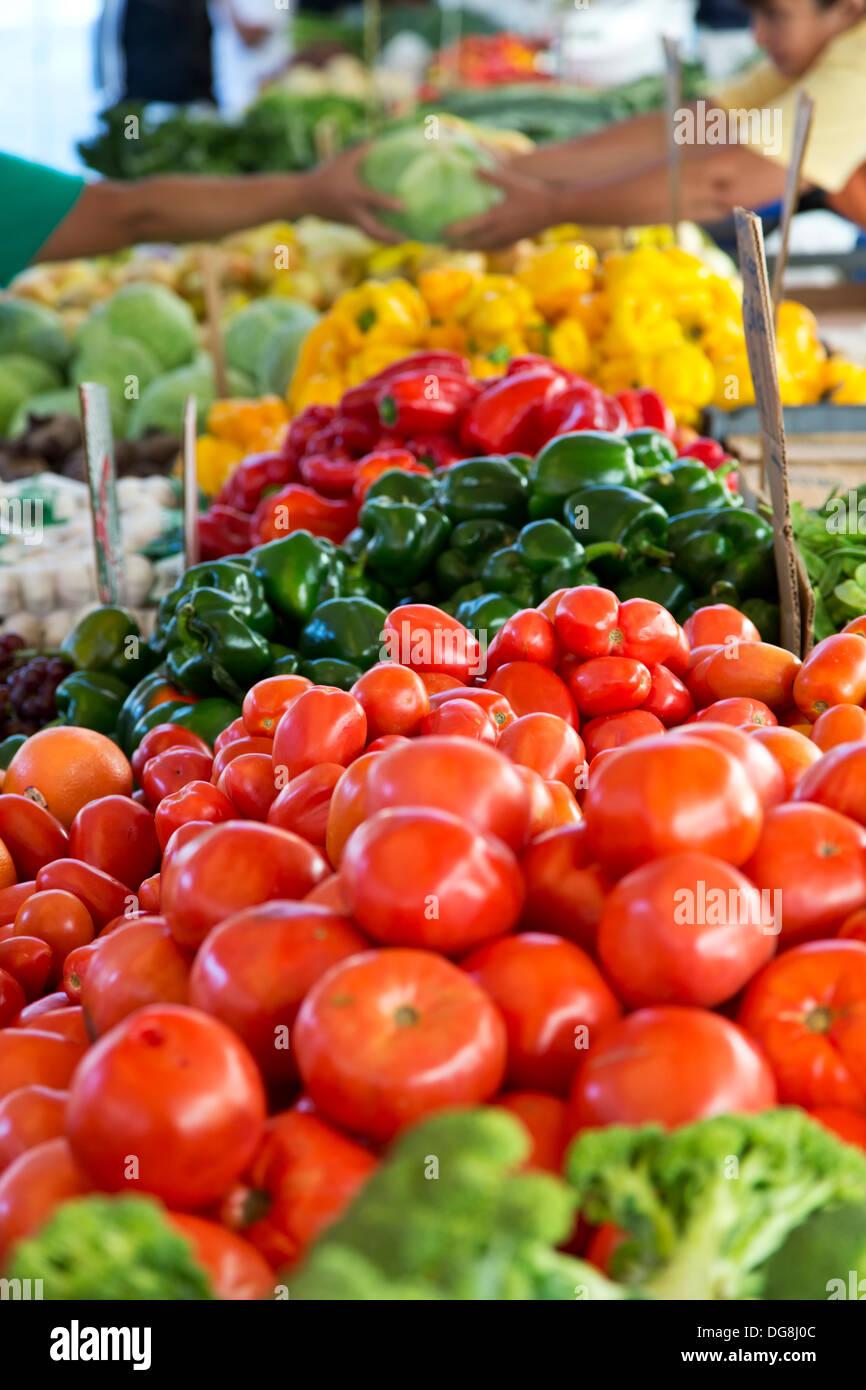 Producir stand, Haymarket Square Farmers Market, North End, Boston, Massachusetts, EE.UU. Imagen De Stock