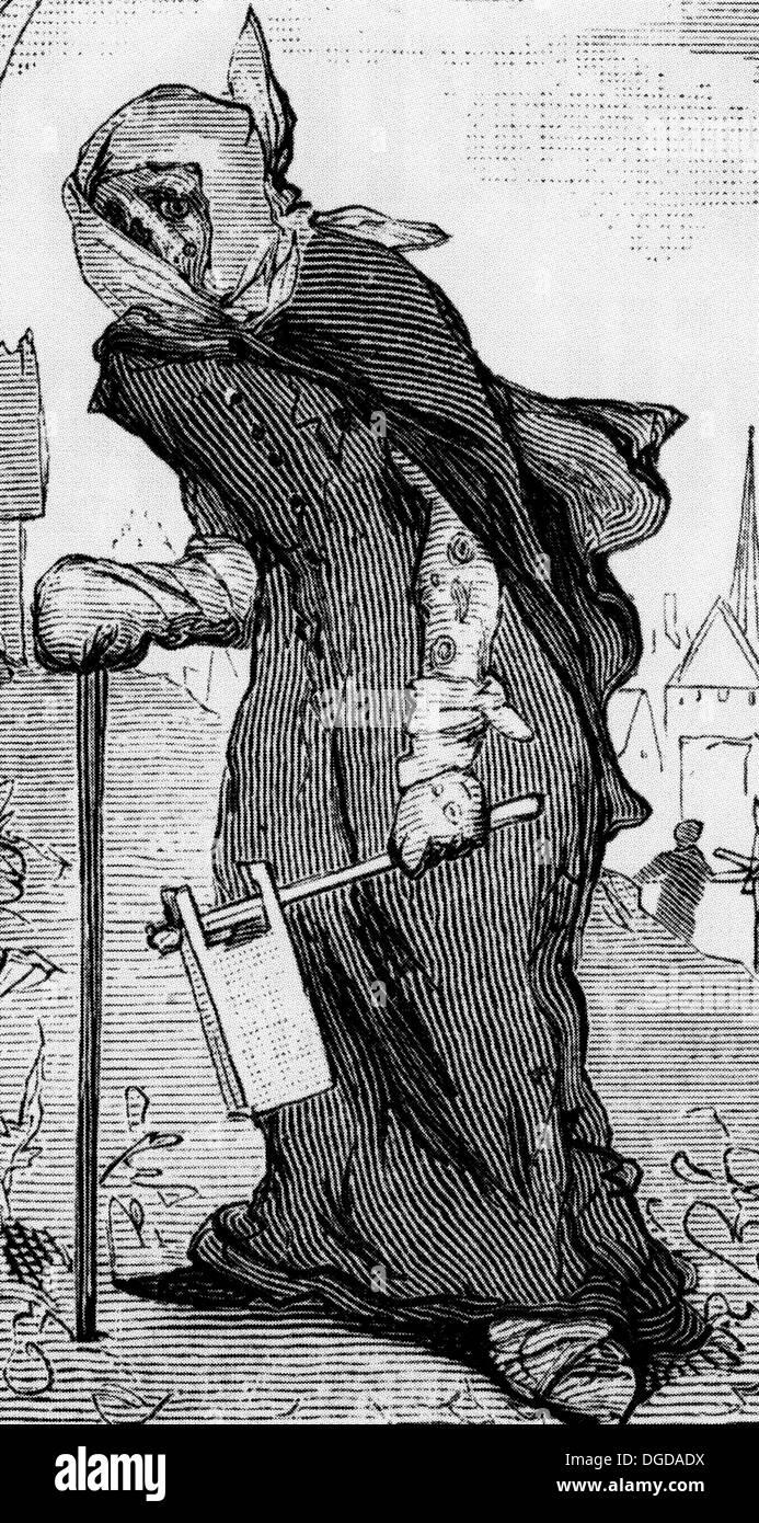 La lepra del siglo xix ilustración mostrando el paciente con su advertencia de matraca Foto de stock