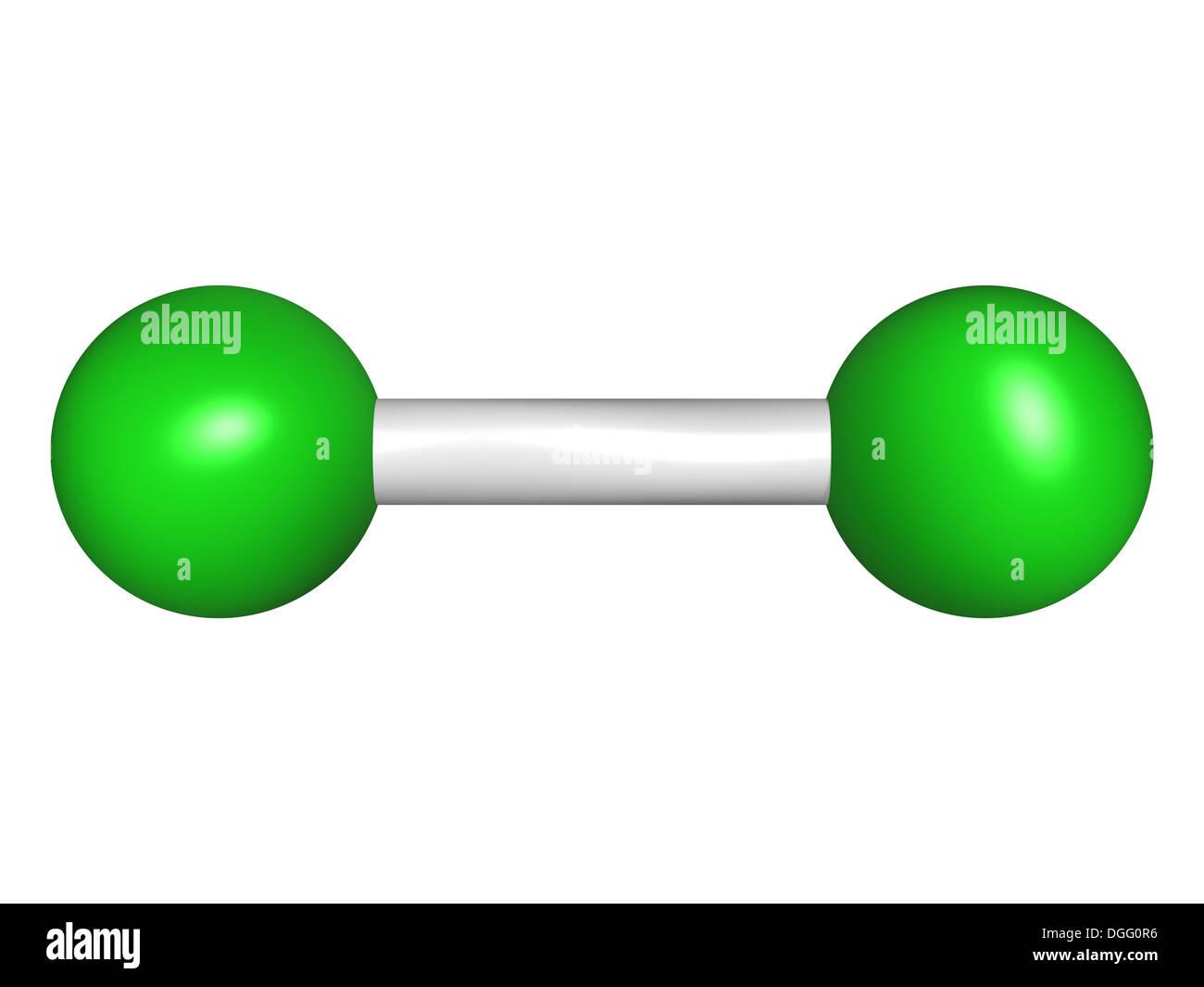 Cloro Elemental (Cl2), modelo molecular. Los átomos son representados como esferas con codificación de color convencional: cloro (verde). Imagen De Stock