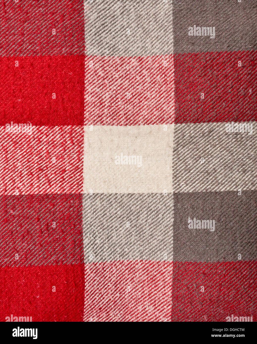 Material tartán rojo y gris como fondo Foto de stock