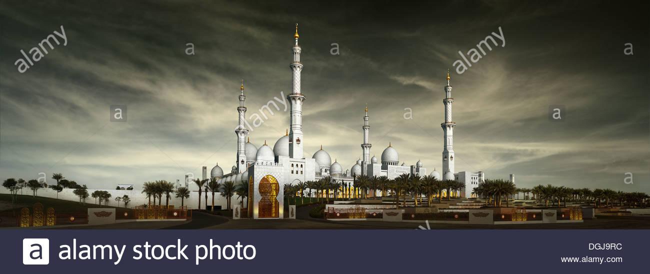 El Jeque Zayed Bin Sultan Al Nahyan Gran Mezquita de Abu Dhabi. Imagen De Stock
