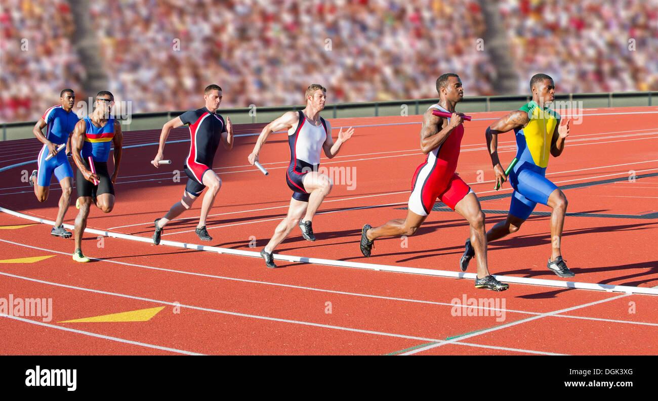Seis atletas corriendo carrera de relevos Foto de stock