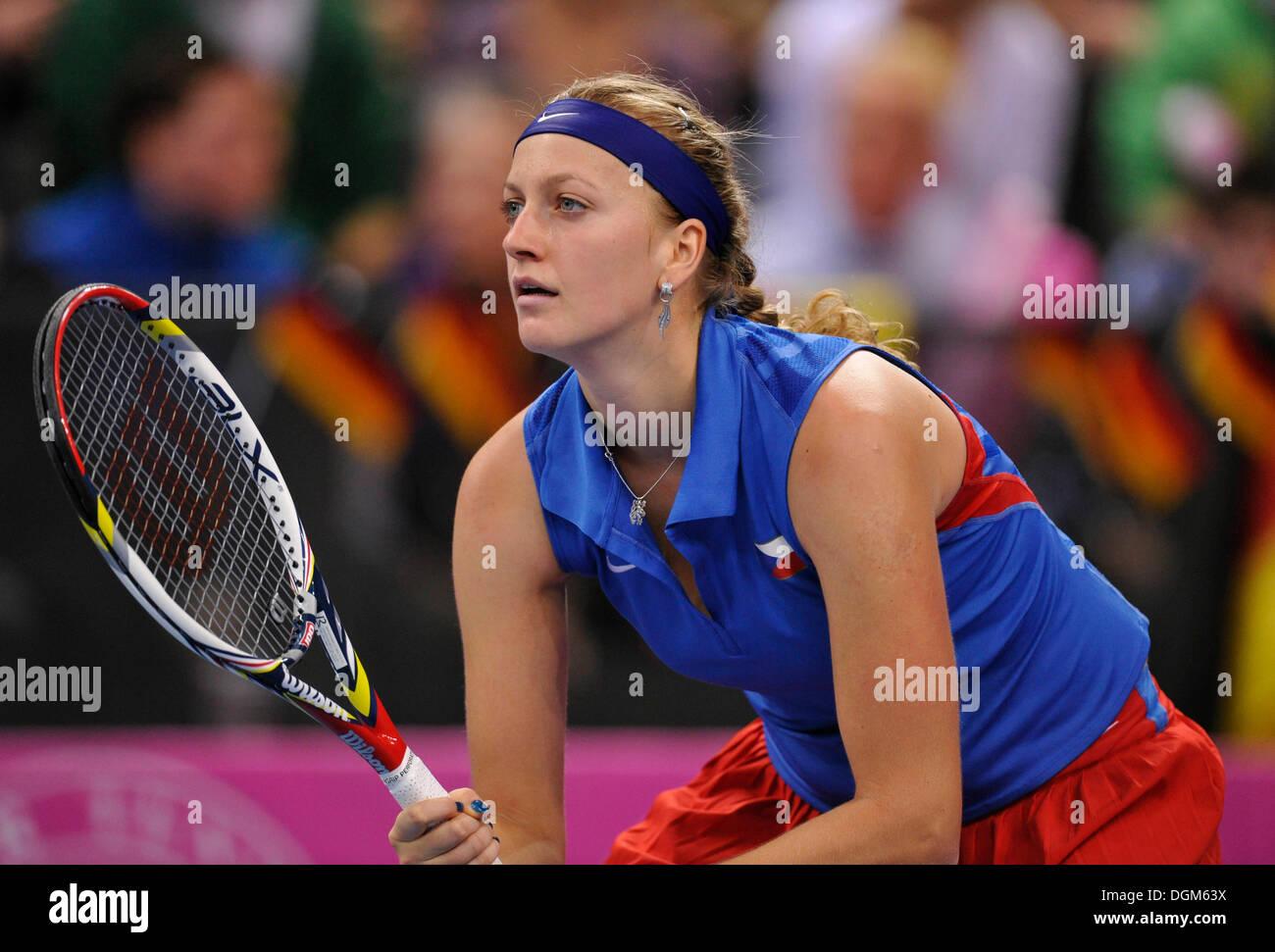 Petra Kvitova, CZE, partido de tenis internacional, Alemania vs. República Checa, FedCup, Federaciones Copa, Grupo Mundial 2012 Foto de stock