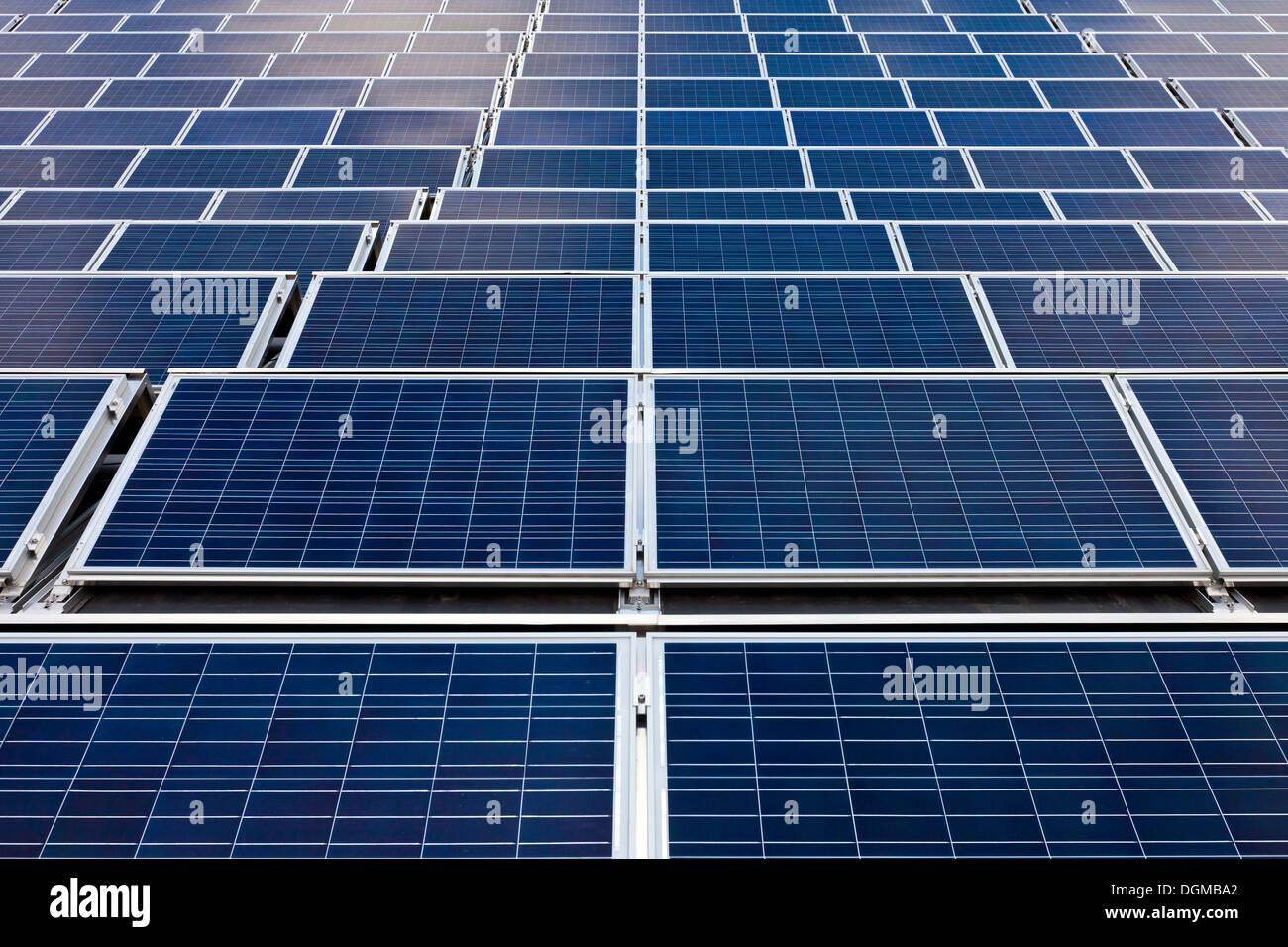 Las células fotovoltaicas o paneles solares en orden simétrico Imagen De Stock