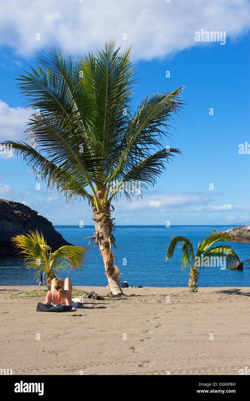 Pequeña playa con palmeras, Playa Paraíso, Costa Adeje, Tenerife, Islas Canarias, España, Europa Imagen De Stock