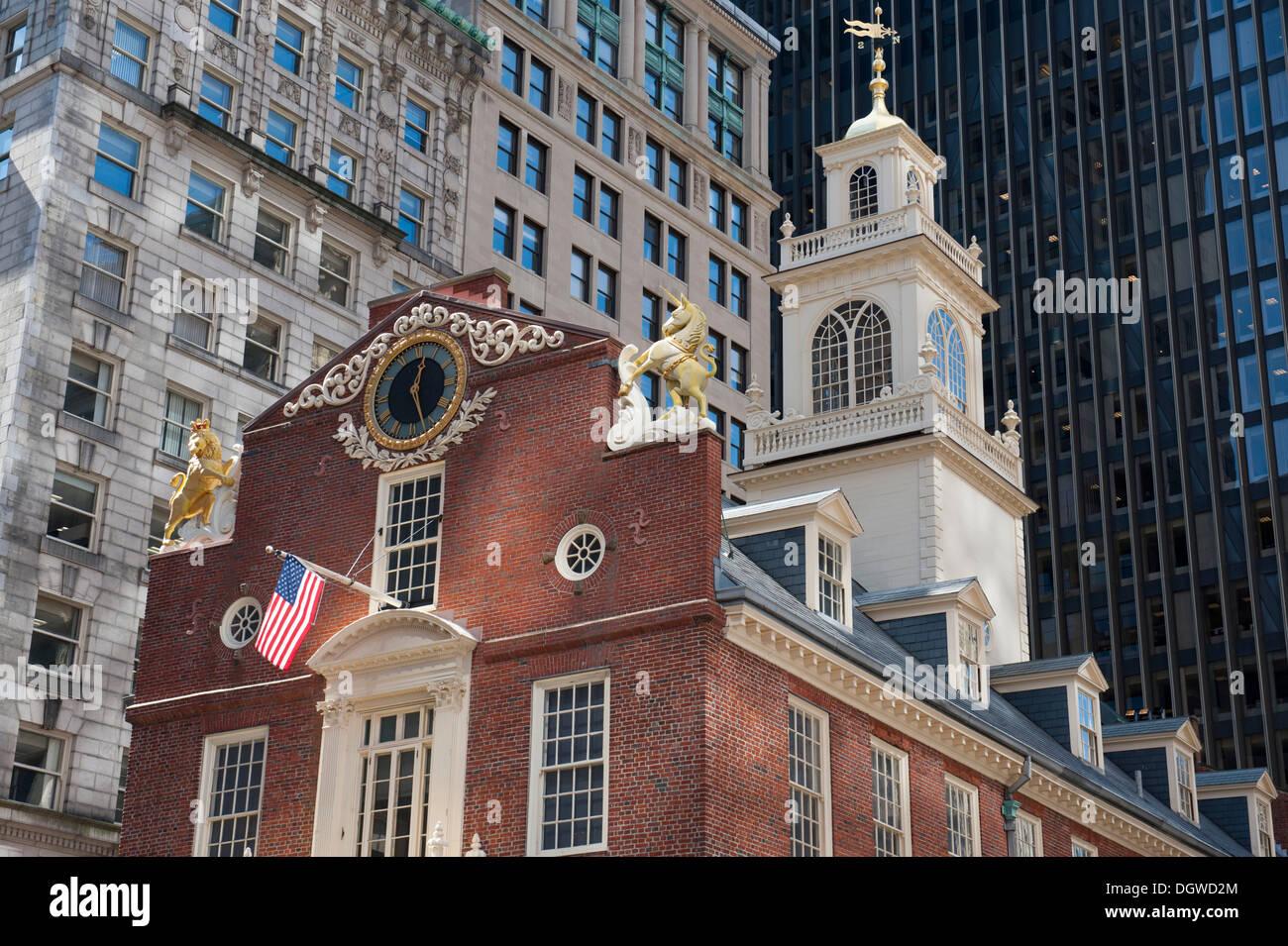 Arquitectura, Historia y política, la Old State House, el Freedom Trail, Boston, Massachusetts, Nueva Inglaterra, Estados Unidos, América del Norte Imagen De Stock