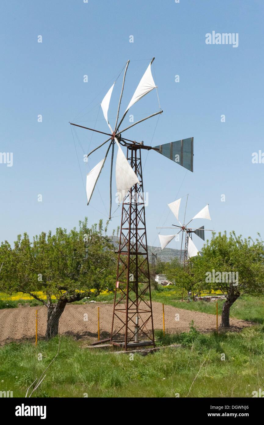 La energía eólica, molino utilizado como una bomba de agua para el riego, Psychro, meseta de Lasithi, en Creta, Grecia, Europa Imagen De Stock