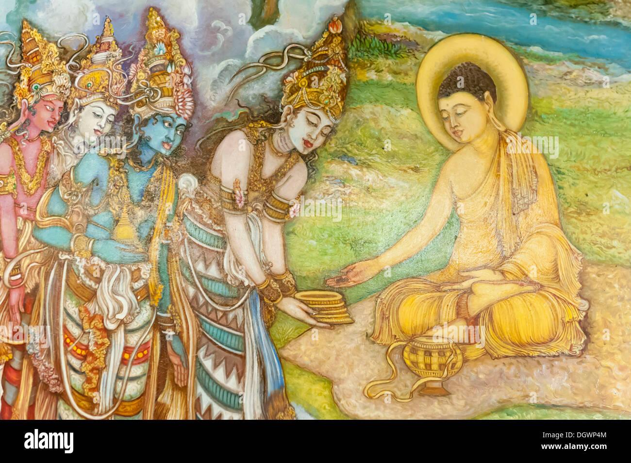 La pintura mural, ilustración y adoradores de Buda, el templo budista, Mahiyangana Mahiyangana, Sri Lanka Imagen De Stock