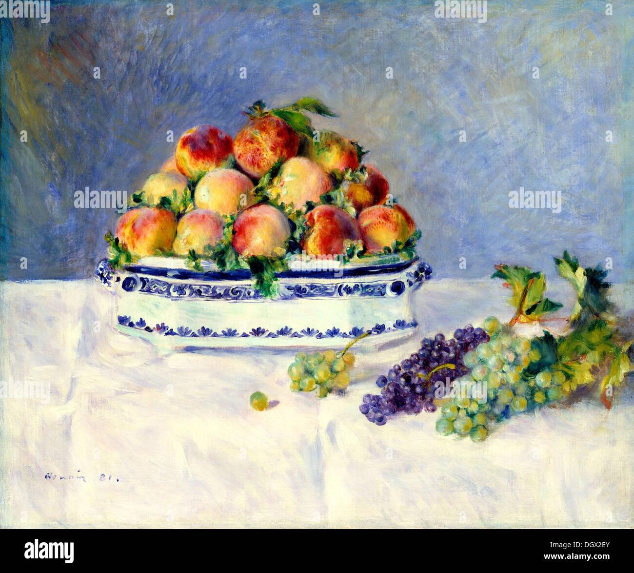 Bodegón con los melocotones y las uvas, por Pierre-Auguste Renoir, 1881 Imagen De Stock