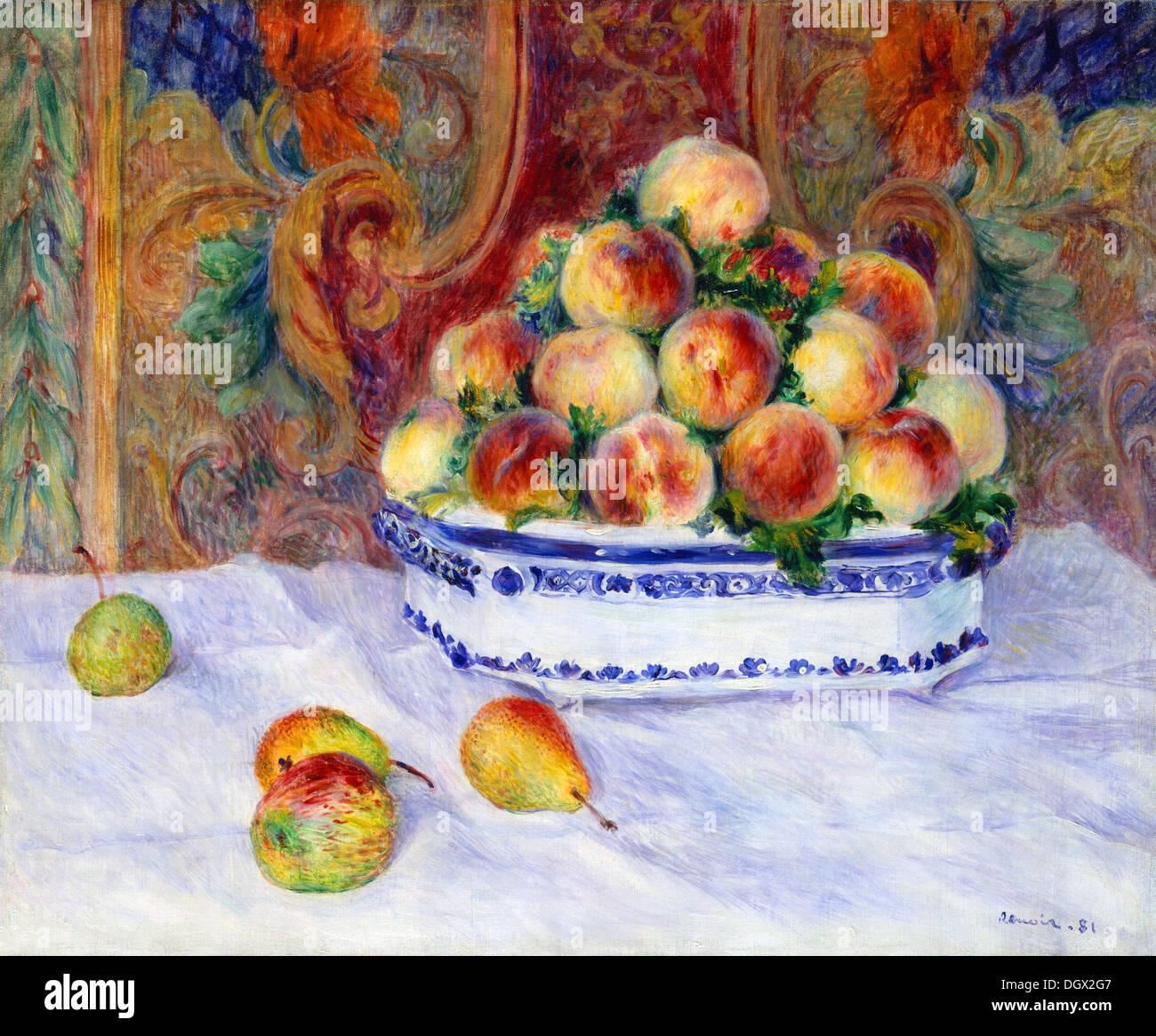Bodegón con melocotones - por Pierre-Auguste Renoir, 1881 Imagen De Stock