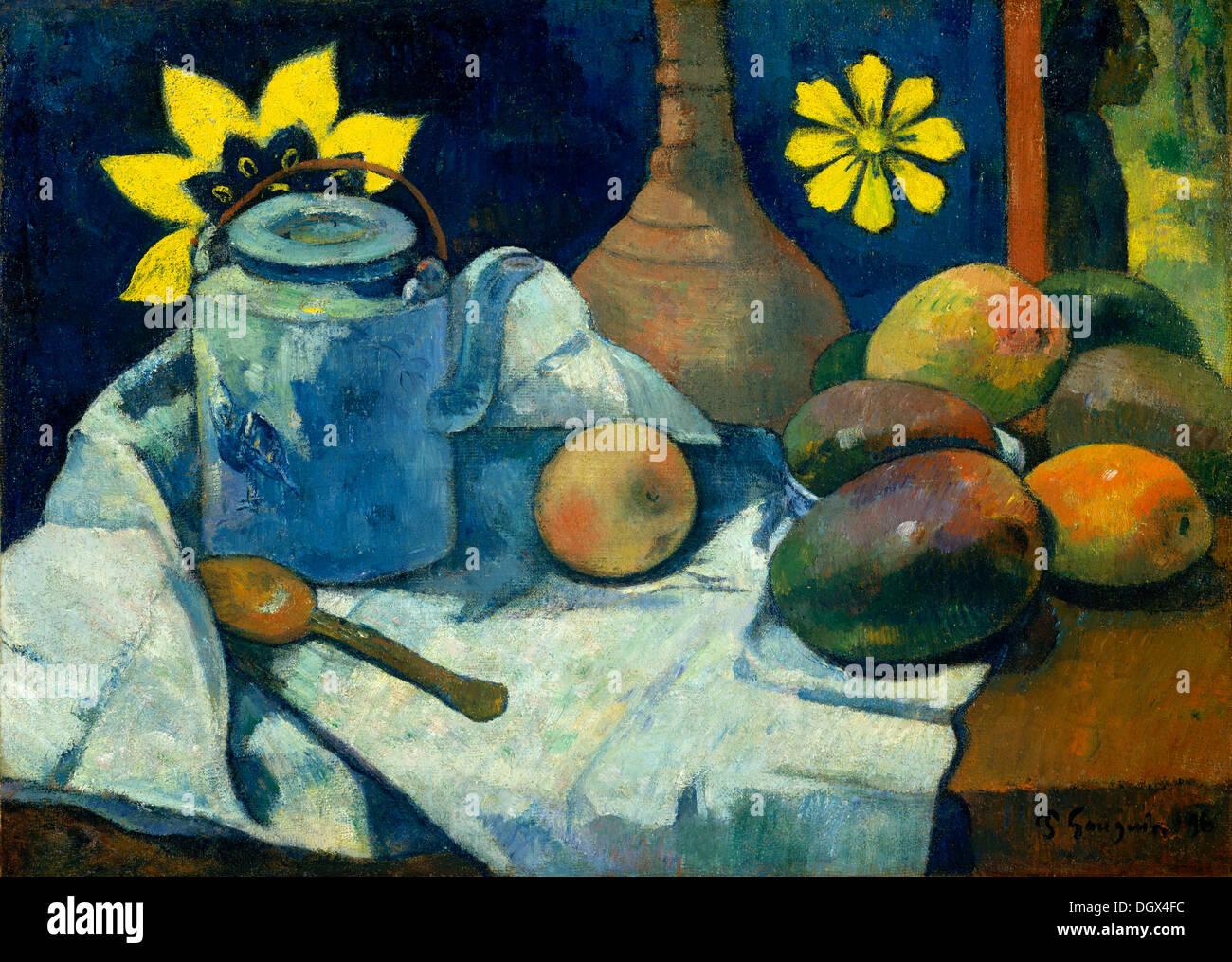 Bodegón con tetera y fruta - por Paul Gauguin, 1896 Imagen De Stock