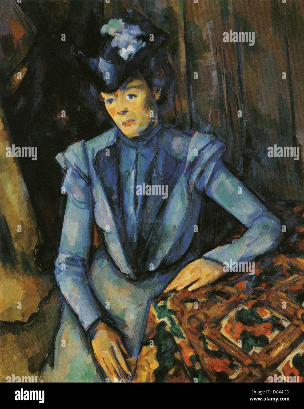 Lady en Azul - por Paul Cézanne, 1900 Imagen De Stock